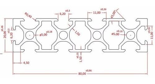 50cm Perfil Alumínio Estrutural Vslot 20x80 Tipo Openbuild