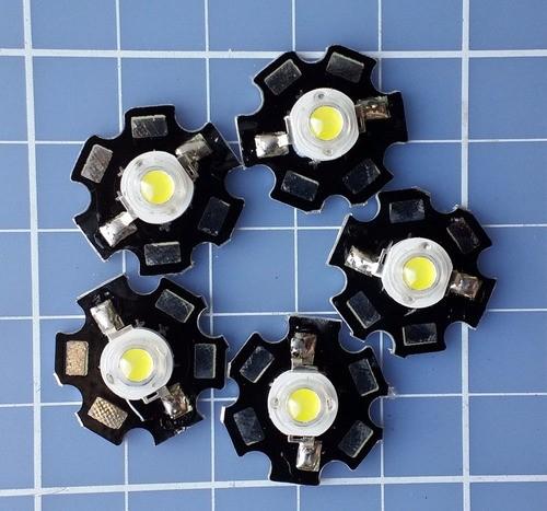 5 Unidades Power Led 3w Branco Com Dissipador Estrela
