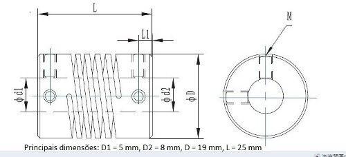 Acoplamento Flexivel 8mm * 8mm Impres 3d Nema 17 Reprap Cnc