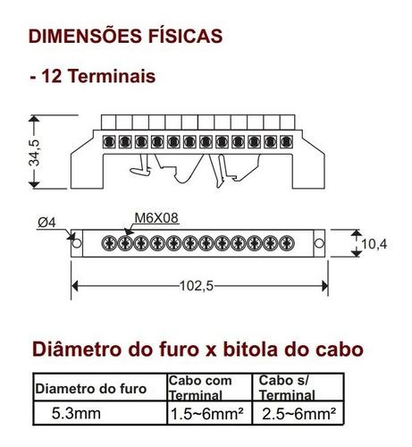 Barramento Neutro E Terra Trilho Din 12 Pólos 2 Pcs