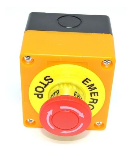 Botoeira Plástica Amarela C/ Botão Emergência