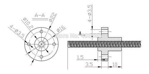 Castanha Flange De Latão Tr8 Passo 8mm - Cnc Router 3d