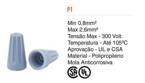 Conector De Torção Emenda Fios Até 2,6mm Cinza 200pcs