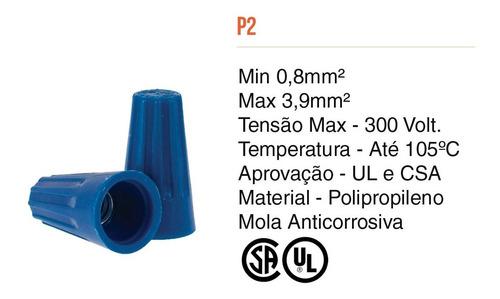 Conector De Torção Emenda Fios Até 3,9mm Azul 200pcs -