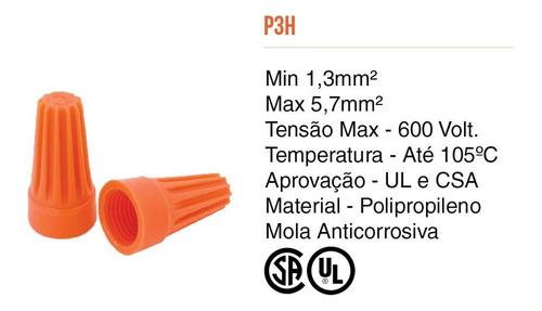 Conector Torção Emenda Fios Até 5,7mm Laranja 100pcs