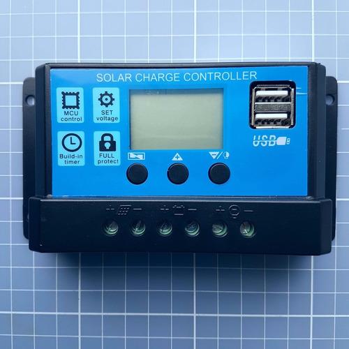 Controlador De Carga Painel Pwm Solar Usb Lcd 20a 12v/24v