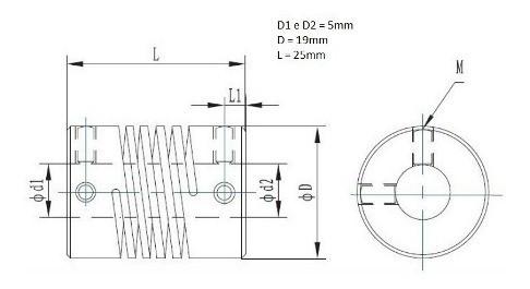 coplamento Flexivel 5mm Impressora 3d Nema 17