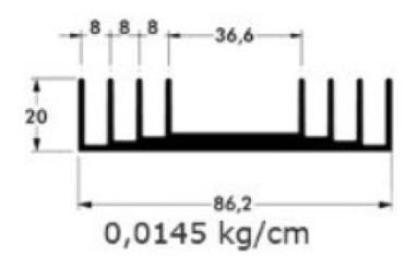 Dissipador De Calor De Alumínio Cortado Sob Medida 8,6x2 Cm