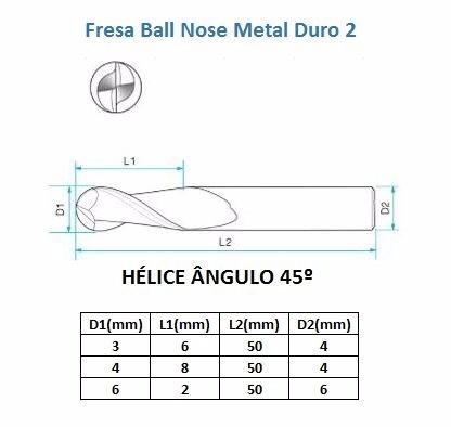 Fresa Ball Nose Metal Duro 2 Cortes C/ Diâmetro De 4mm