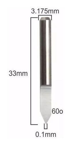 Fresa V Carving 60º X 0.1 X 3.175mm Gravação Pcb Cnc Dremel