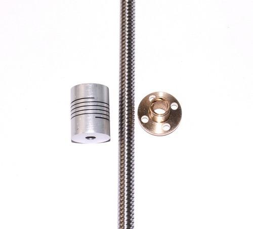 Fuso Trapezoidal Tr8 - 300mm + Flange + Acoplamento - Full
