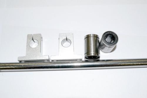 Kit - 2mt Guia Linear 12mm + 4 Rolamentos Lm12uu + 4 Sk12