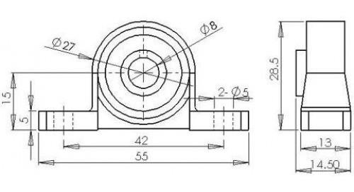 Kit 4 X Mancal Kp08 Para Eixo 8mm Com Rolamento - Cnc 3d