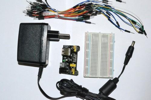 Kit - Fonte 9v1a + Protoboard 400 + Jumper + Fonte Ajustável