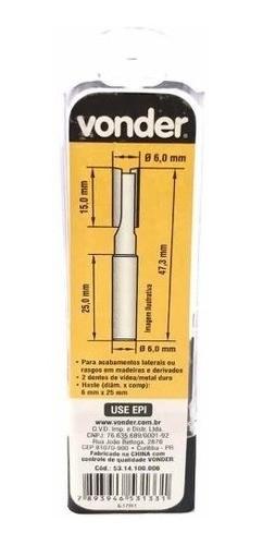 Kit Fresas Tupia 6mm - 2 Cortes Reto - Perfeito Mdf - Vonder