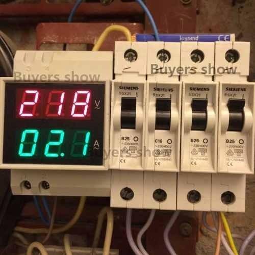 Medidor Voltímetro Amperímetro 80-300v 100a Led Ac Din Rail