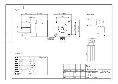 Motor De Passo Nema 17 4,2 Kgf 12v 17hs4401 Impressora 3d