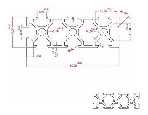 Perfil De Alumínio Estrutural V-slot 20x60 Tipo Openbuilds