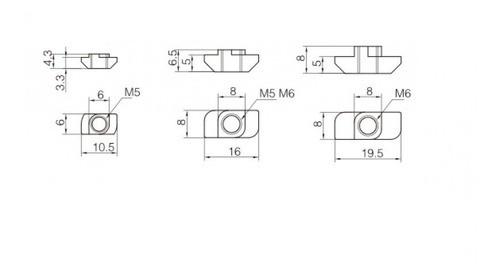 Porca Martelo M5 Canal 8mm Perfil Estrutural 3030 20pçs Full