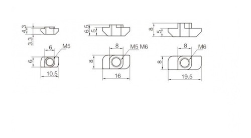 Porca Martelo M6 Canal 8mm Perfil Estrutural 4040 (20pçs)