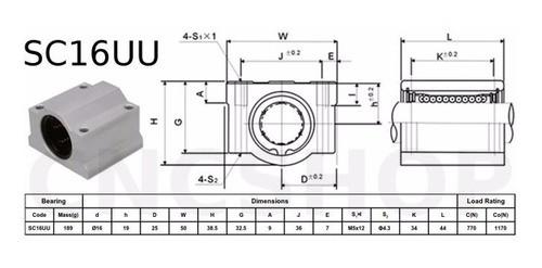 Suporte Pillow Block C/ Rolamento Eixo Linear 16mm Sc16uu