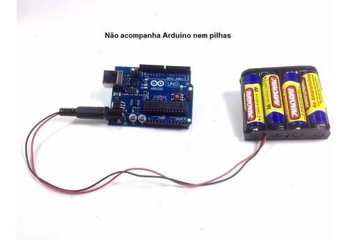 Suporte Porta 4 Pilhas Aa Com Plug P4 Para Arduino