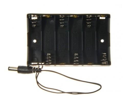Suporte Porta 6 Pilhas Aa Com Plug P4 Para Arduino - Full
