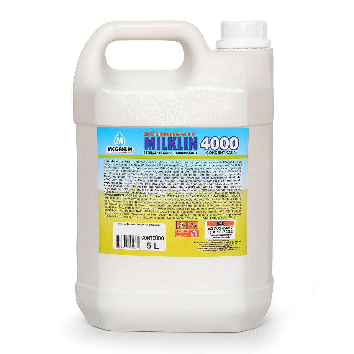 Detergente Ácido Desincrustante Concentrado Milklin 4000 Megaklin
