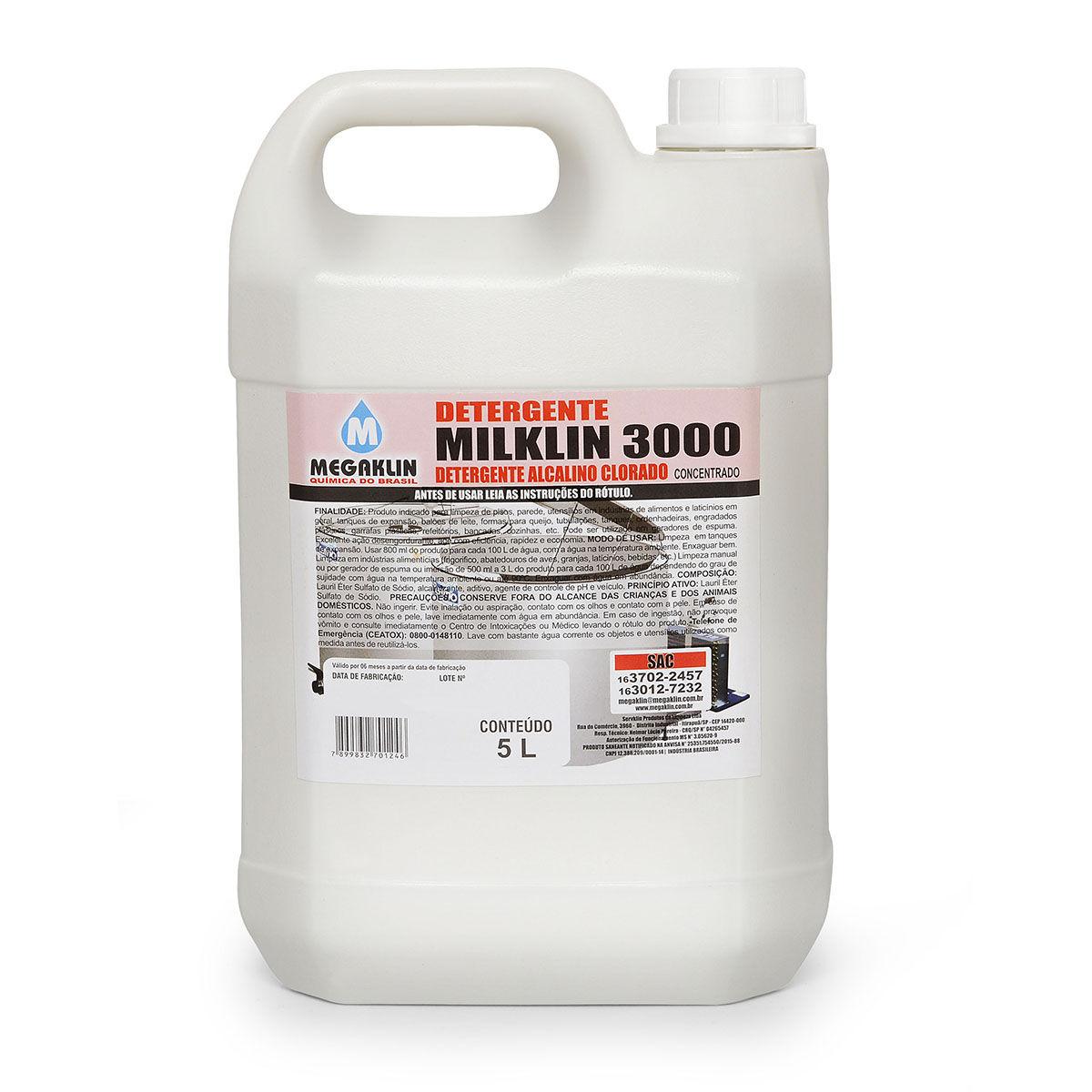 Detergente Alcalino Clorado Espumante de uso geral Milklin 3000 Megaklin