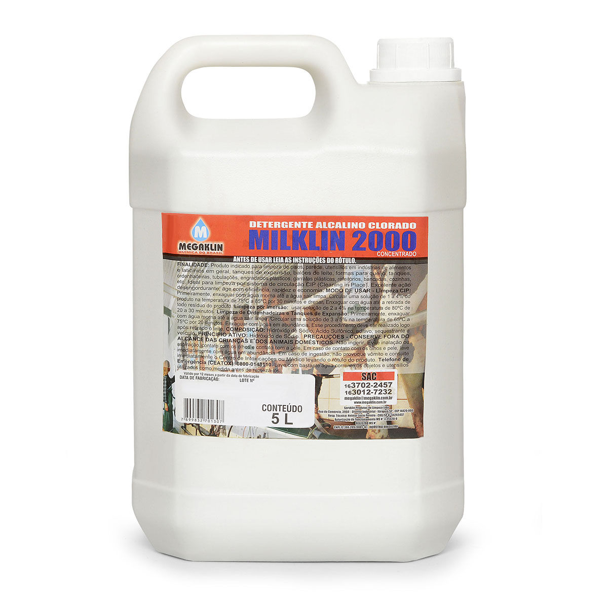 Detergente Alcalino Clorado Sem espuma Concentrado Milklin 2000 Megaklin
