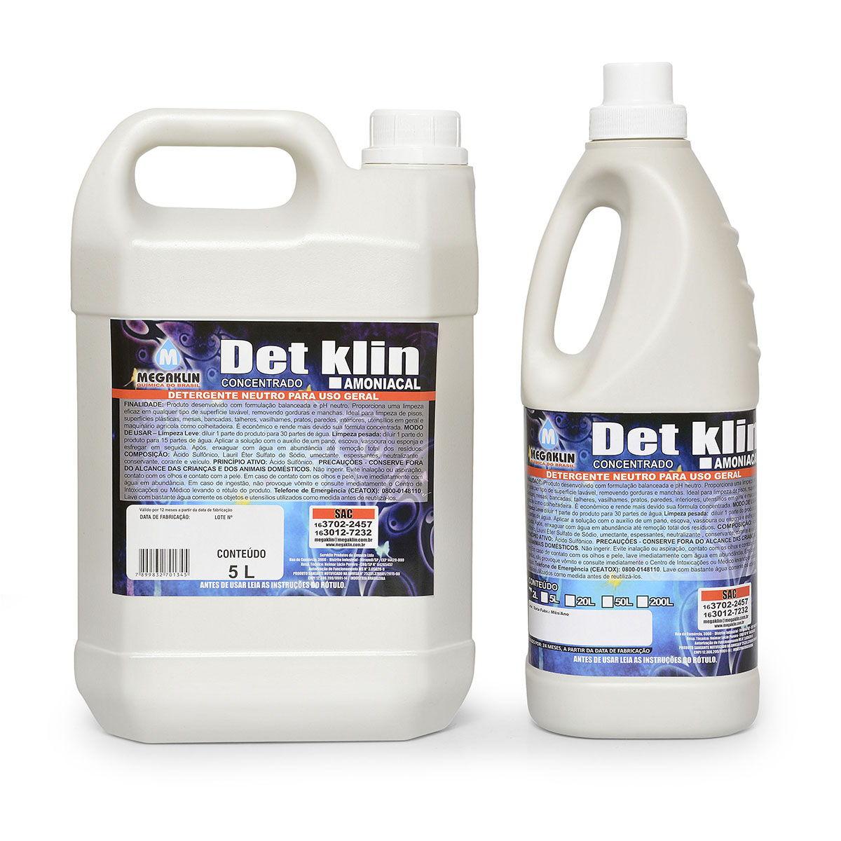 Detergente Neutro para Uso Geral Concentrado  Det Klin Amoniacal Megaklin