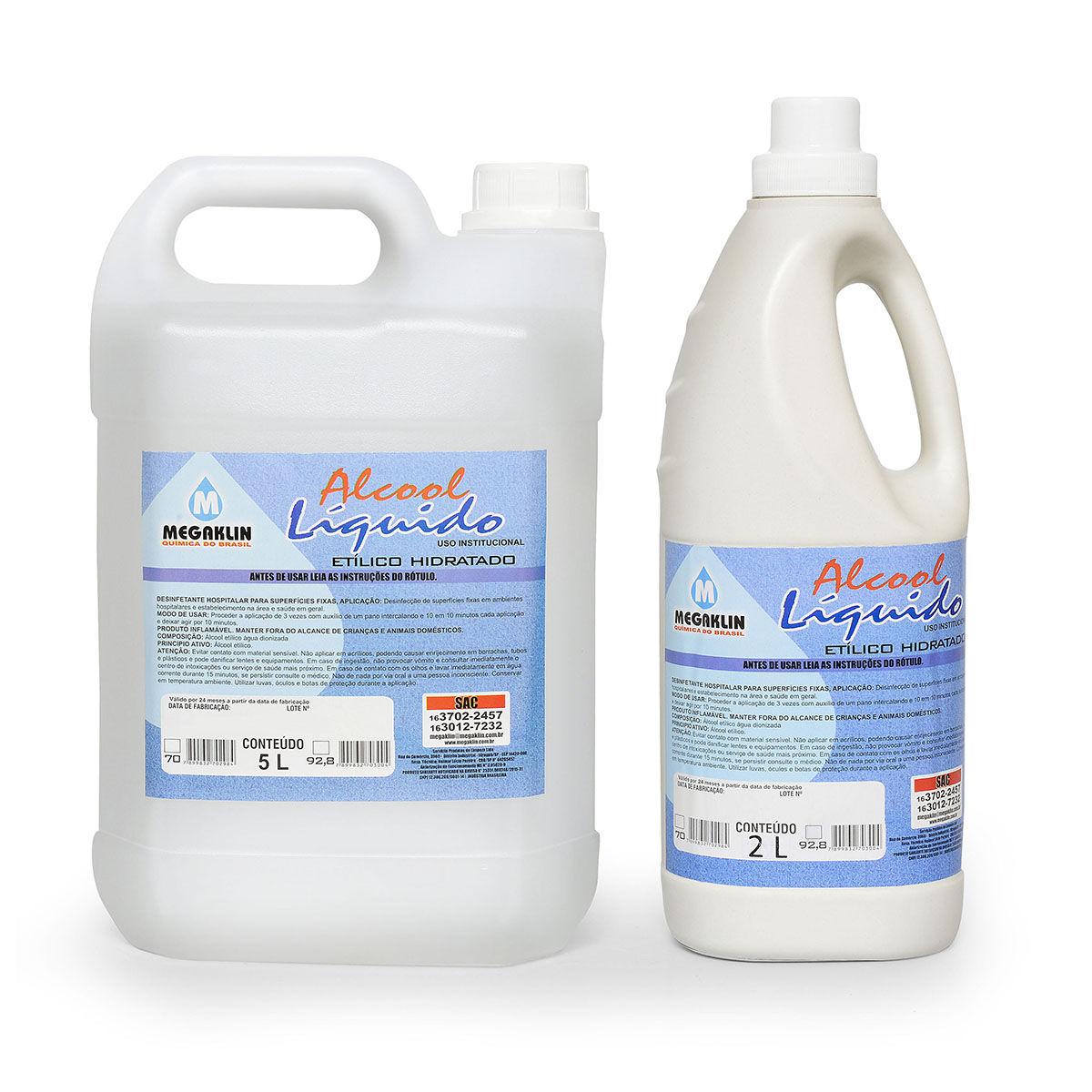 Álcool Líquido Etílico Hidratado para Uso institucional Megaklin