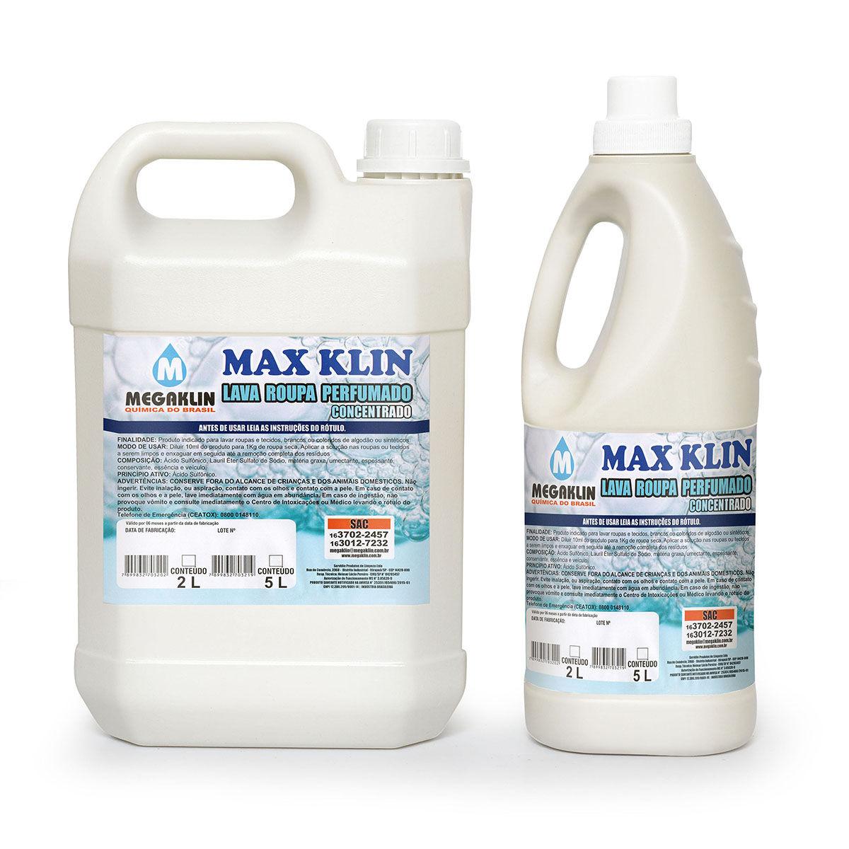 Lava Roupas Perfumado Concentrado Max Klin Megaklin