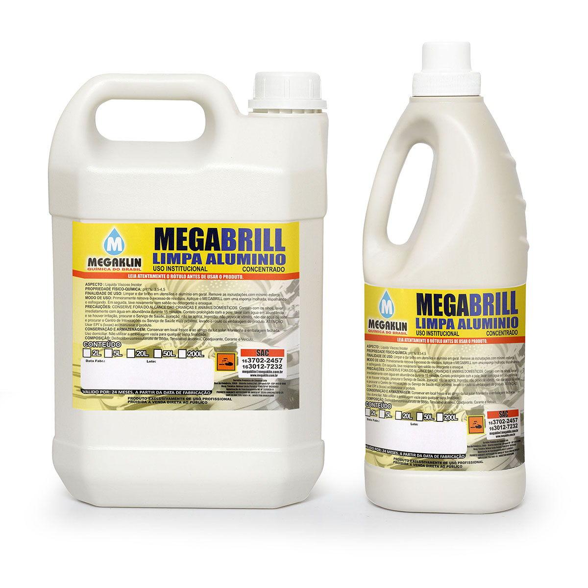 Limpa Alumínio Concentrado de Uso institucional Megabrill Megaklin