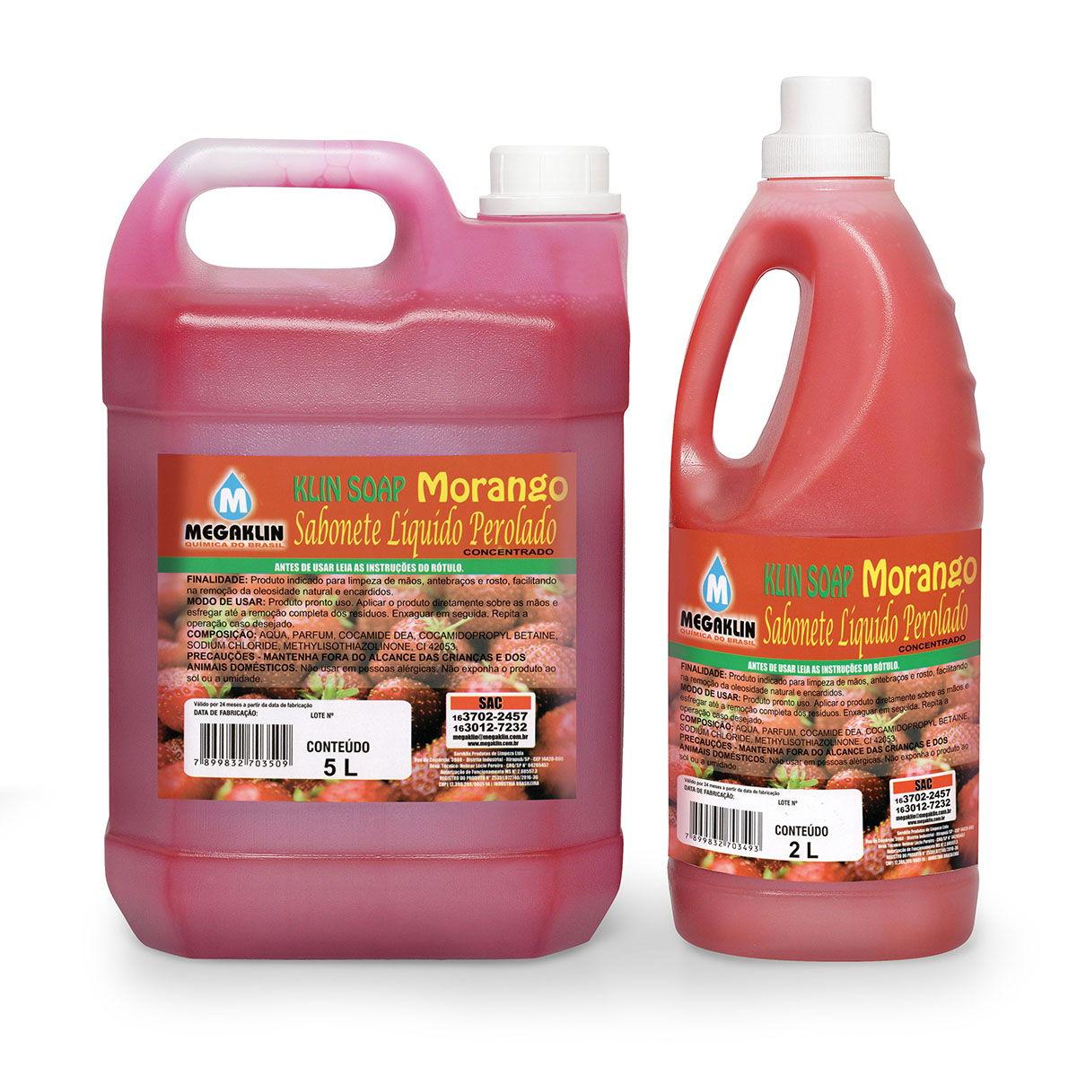 Sabonete Líquido Perolado Concentrado Klin Soap Morango Megaklin