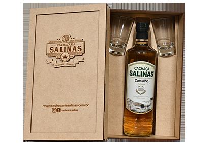 Kit estojo Salinas Carvalho + 02 copos cachaça