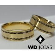 Aliança Bodas de Prata em Ouro Foscas e Bordadas 7mm WD9013