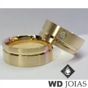 Aliança Casamento Moeda Antiga Fosco Acetinado 8mm MJM121