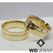 Aliança Casamento Moeda Antiga Polida Com Pedras 8mm MJM122