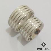 Aliança Compromisso Prata Polida e Diamantada 20g MJP19