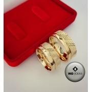Aliança de Casamento Ouro Polida e Bordado 8mm 18g WD8761