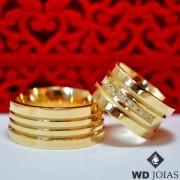 Aliança de Casamento Ouro Polida e fosco 10mm 30g MJO30