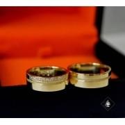 Aliança de Casamento Ouro Polida e Fosco 7mm 15g WD8741