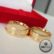 Aliança de Casamento Ouro Polida Quadrada 7mm 16g WD8767