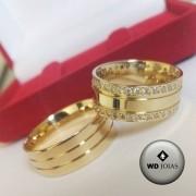 Aliança de Casamento Ouro Quadrada Polida 8mm 17g WD8769