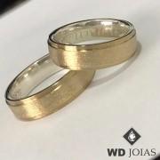 Aliança de Moeda Antiga Casamento Polida e Fosco 7mm MJM15