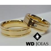 Aliança de Ouro Quadrada e Polida 6mm 12g WD9018