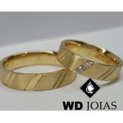 Aliança de Ouro Quadrada Polida e Fosca 5mm 10g WD9019