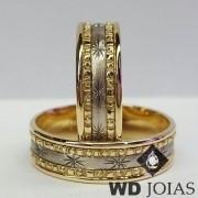 Alianças Bodas de Prata em Ouro Bordadas 7mm 15g WD8839