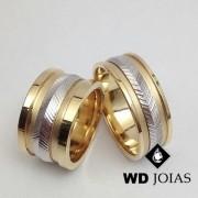 Alianças Bodas de Prata em Ouro Quadrada 10mm 26g WD8837